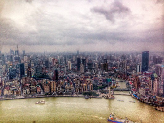 View dari Sightseeing Oriental Pearl Tower Shanghai.JPG