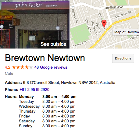 Brewtown Newtown Sydney Address