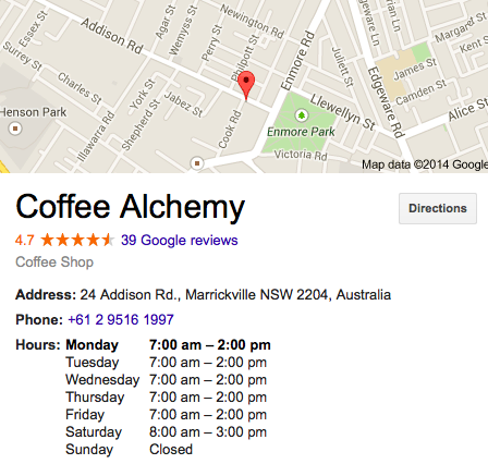 Coffee Alchemy Sydney Address