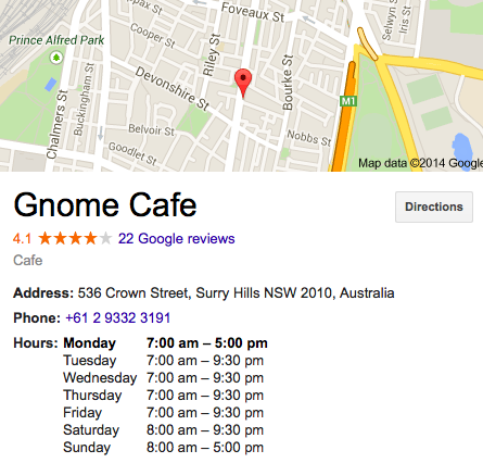 Gnome Cafe Sydney Address