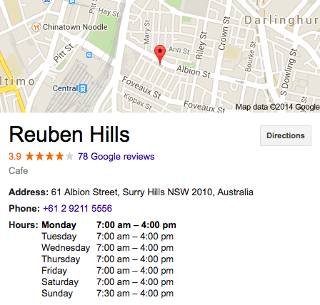 Reuben Hills Sydney Address