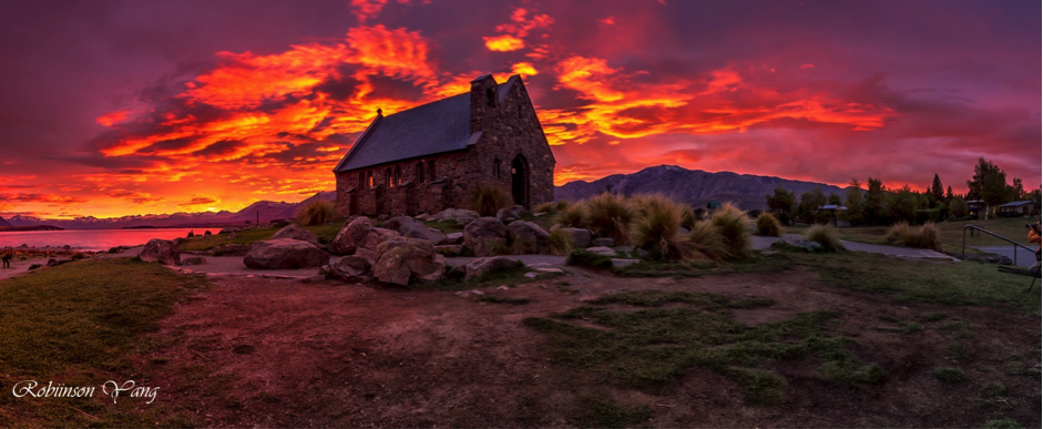 church of the shepherd house lake tekapo sunrise